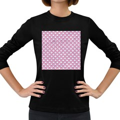 Scales2 White Marble & Pink Denim (r) Women s Long Sleeve Dark T Shirts