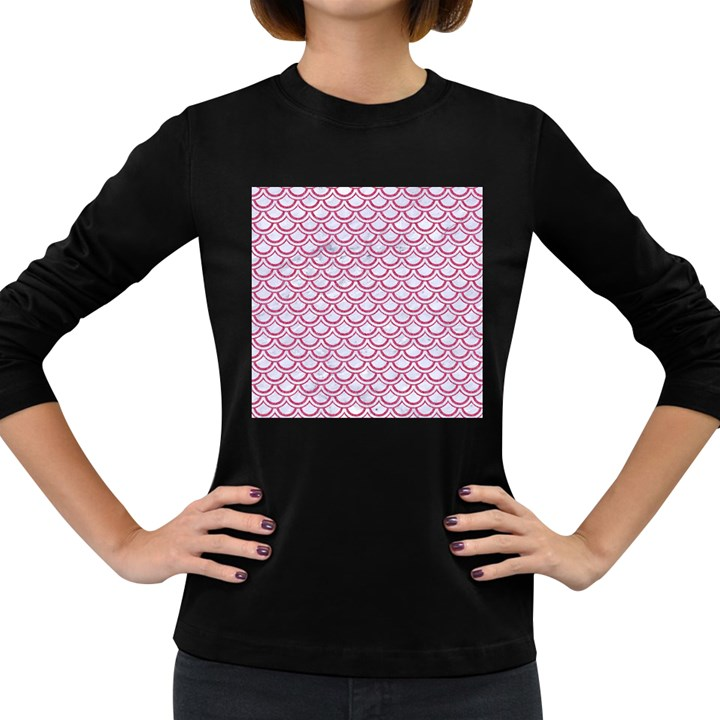 SCALES2 WHITE MARBLE & PINK DENIM (R) Women s Long Sleeve Dark T-Shirts