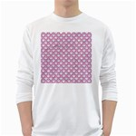SCALES2 WHITE MARBLE & PINK DENIM (R) White Long Sleeve T-Shirts Front
