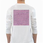 SCALES2 WHITE MARBLE & PINK DENIM (R) White Long Sleeve T-Shirts Back