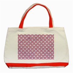 Scales2 White Marble & Pink Denim (r) Classic Tote Bag (red) by trendistuff