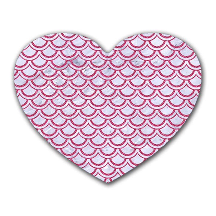SCALES2 WHITE MARBLE & PINK DENIM (R) Heart Mousepads