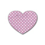 SCALES2 WHITE MARBLE & PINK DENIM (R) Rubber Coaster (Heart)  Front