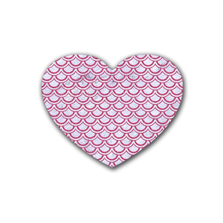 SCALES2 WHITE MARBLE & PINK DENIM (R) Rubber Coaster (Heart)