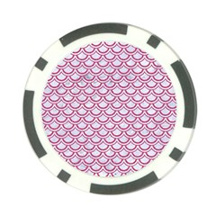 Scales2 White Marble & Pink Denim (r) Poker Chip Card Guard