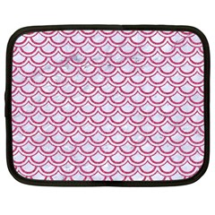 Scales2 White Marble & Pink Denim (r) Netbook Case (large) by trendistuff