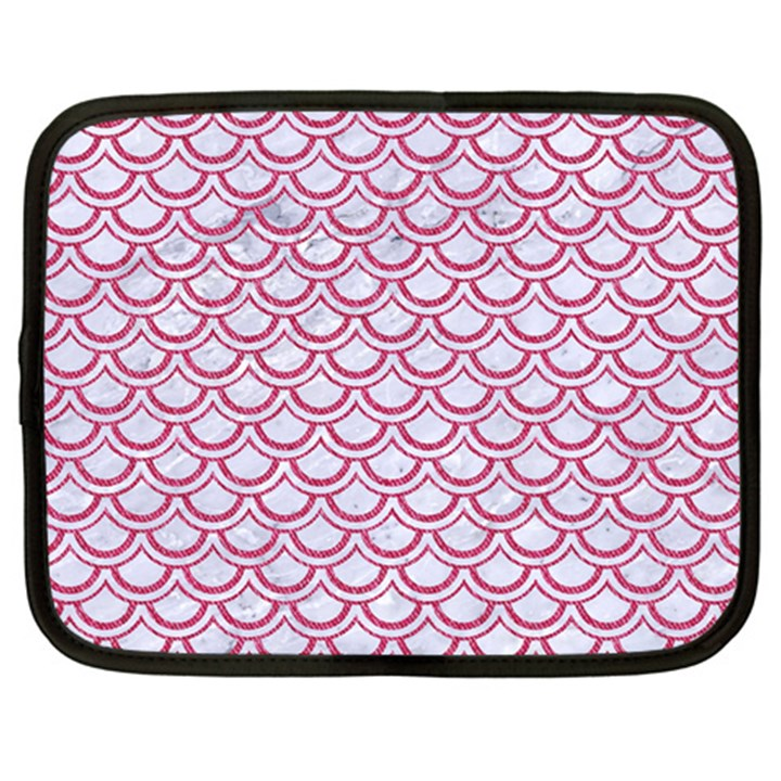 SCALES2 WHITE MARBLE & PINK DENIM (R) Netbook Case (Large)