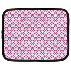 Scales2 White Marble & Pink Denim (r) Netbook Case (xxl)  by trendistuff