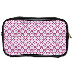 Scales2 White Marble & Pink Denim (r) Toiletries Bags 2 Side by trendistuff