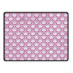 Scales2 White Marble & Pink Denim (r) Fleece Blanket (small)