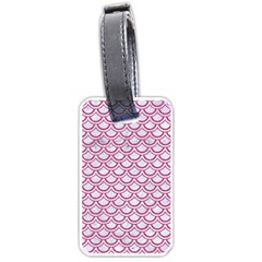 Scales2 White Marble & Pink Denim (r) Luggage Tags (one Side)