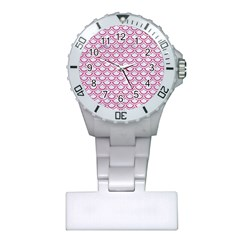 Scales2 White Marble & Pink Denim (r) Plastic Nurses Watch by trendistuff