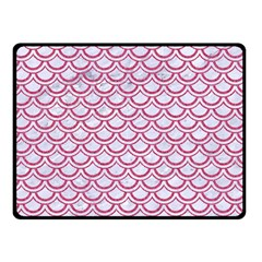 Scales2 White Marble & Pink Denim (r) Double Sided Fleece Blanket (small)