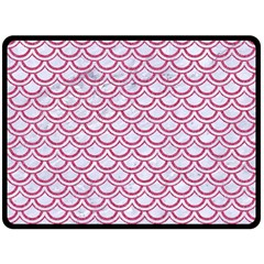 Scales2 White Marble & Pink Denim (r) Double Sided Fleece Blanket (large)  by trendistuff