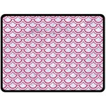 SCALES2 WHITE MARBLE & PINK DENIM (R) Double Sided Fleece Blanket (Large)  80 x60 Blanket Back