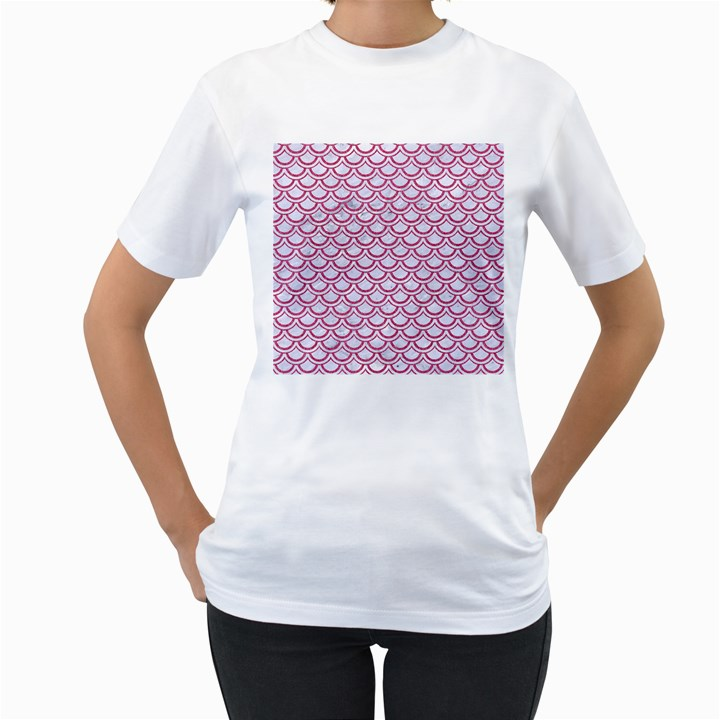 SCALES2 WHITE MARBLE & PINK DENIM (R) Women s T-Shirt (White)
