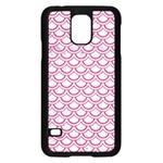 SCALES2 WHITE MARBLE & PINK DENIM (R) Samsung Galaxy S5 Case (Black) Front