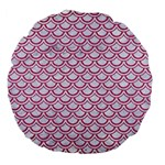 SCALES2 WHITE MARBLE & PINK DENIM (R) Large 18  Premium Flano Round Cushions Front