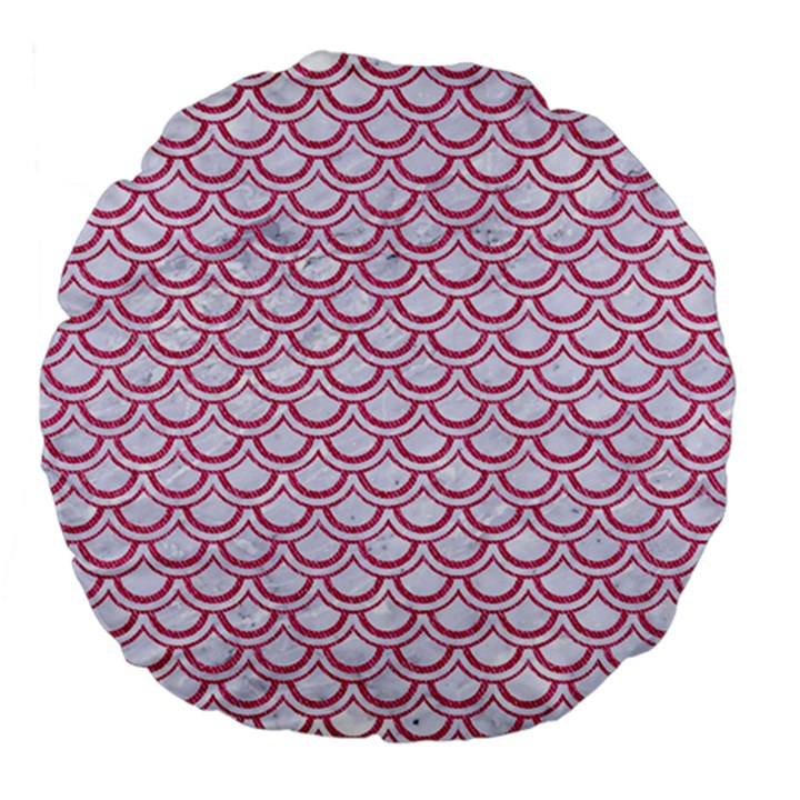 SCALES2 WHITE MARBLE & PINK DENIM (R) Large 18  Premium Flano Round Cushions