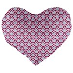SCALES2 WHITE MARBLE & PINK DENIM (R) Large 19  Premium Flano Heart Shape Cushions Back