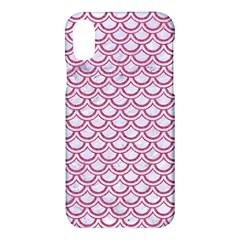 Scales2 White Marble & Pink Denim (r) Apple Iphone X Hardshell Case by trendistuff