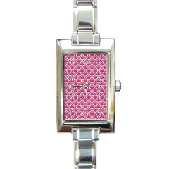 Scales2 White Marble & Pink Denim Rectangle Italian Charm Watch