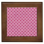 SCALES2 WHITE MARBLE & PINK DENIM Framed Tiles Front