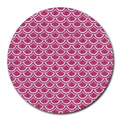 SCALES2 WHITE MARBLE & PINK DENIM Round Mousepads