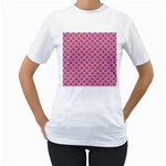 SCALES2 WHITE MARBLE & PINK DENIM Women s T-Shirt (White) (Two Sided) Front