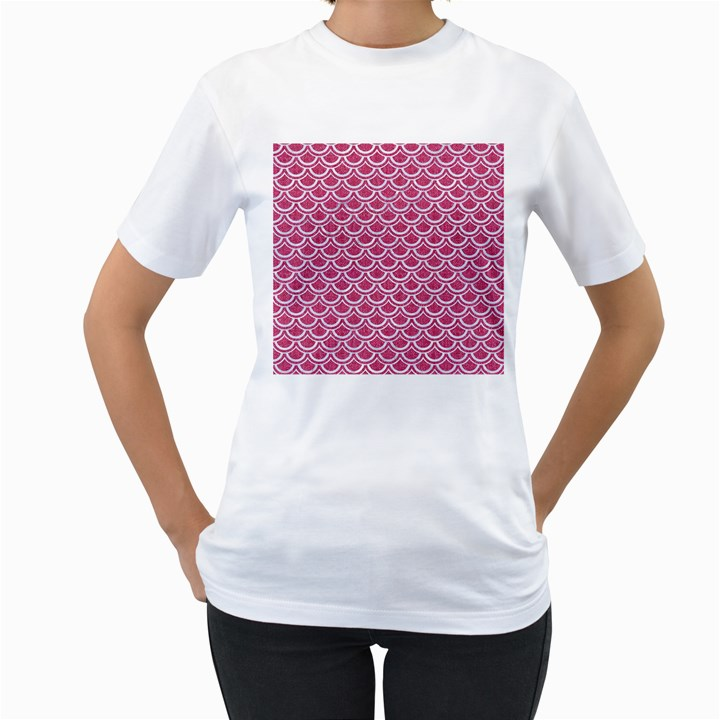 SCALES2 WHITE MARBLE & PINK DENIM Women s T-Shirt (White) (Two Sided)