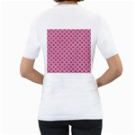 SCALES2 WHITE MARBLE & PINK DENIM Women s T-Shirt (White) (Two Sided) Back