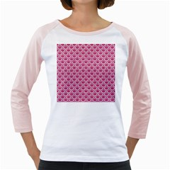 SCALES2 WHITE MARBLE & PINK DENIM Girly Raglans