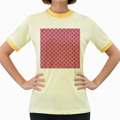 SCALES2 WHITE MARBLE & PINK DENIM Women s Fitted Ringer T-Shirts