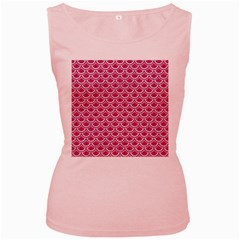 Scales2 White Marble & Pink Denim Women s Pink Tank Top