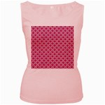 SCALES2 WHITE MARBLE & PINK DENIM Women s Pink Tank Top Front