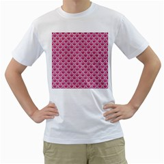 SCALES2 WHITE MARBLE & PINK DENIM Men s T-Shirt (White) (Two Sided)