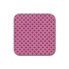 SCALES2 WHITE MARBLE & PINK DENIM Rubber Coaster (Square)