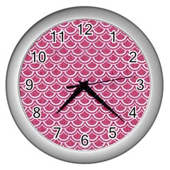 SCALES2 WHITE MARBLE & PINK DENIM Wall Clocks (Silver)
