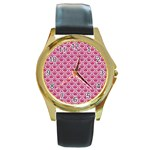 SCALES2 WHITE MARBLE & PINK DENIM Round Gold Metal Watch Front