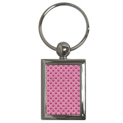 SCALES2 WHITE MARBLE & PINK DENIM Key Chains (Rectangle)