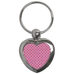SCALES2 WHITE MARBLE & PINK DENIM Key Chains (Heart)