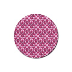 SCALES2 WHITE MARBLE & PINK DENIM Rubber Coaster (Round)