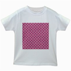 SCALES2 WHITE MARBLE & PINK DENIM Kids White T-Shirts