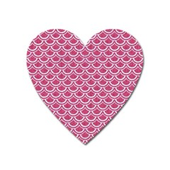 SCALES2 WHITE MARBLE & PINK DENIM Heart Magnet