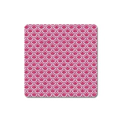 Scales2 White Marble & Pink Denim Square Magnet by trendistuff