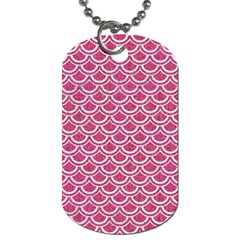 SCALES2 WHITE MARBLE & PINK DENIM Dog Tag (One Side)