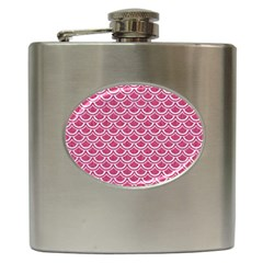 SCALES2 WHITE MARBLE & PINK DENIM Hip Flask (6 oz)