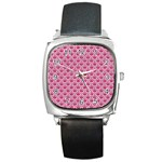 SCALES2 WHITE MARBLE & PINK DENIM Square Metal Watch Front
