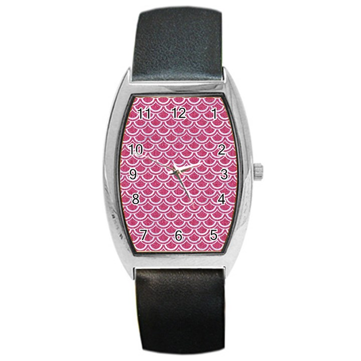 SCALES2 WHITE MARBLE & PINK DENIM Barrel Style Metal Watch