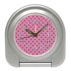 Scales2 White Marble & Pink Denim Travel Alarm Clocks by trendistuff